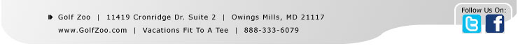 Golf Zoo  |  11419 Cronridge Dr. Suite 2  |  Owings Mills, MD 21117  |  888.257.5230  |  www.twitter.com/golfzoo