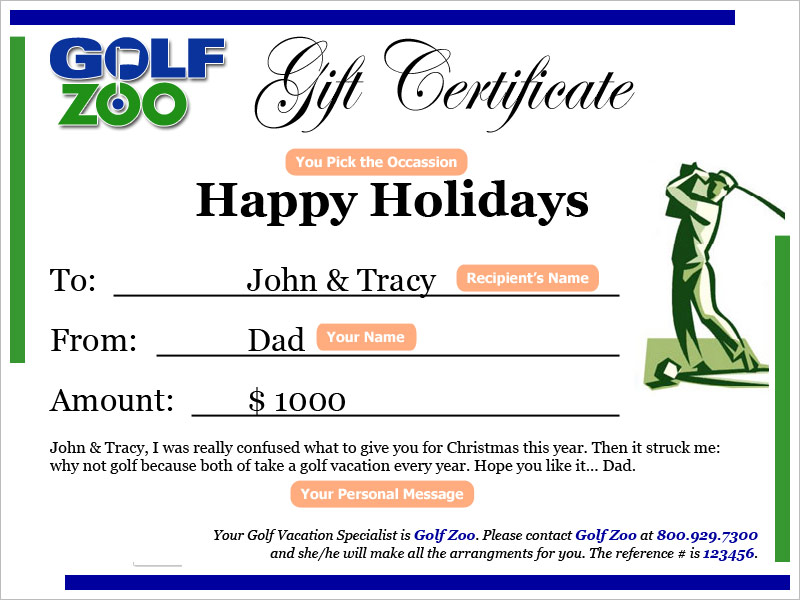 Personalized Golf Zoo Gift Certificate